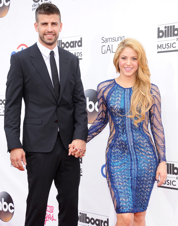 arrives to the Billboard Music Awards 2014 at the MGM Grand Garden Arena. Pictured: Shakira and Gerard Pique Ref: SPL759563 180514 Picture by: Digital Focus / Splash News Splash News and Pictures Los Angeles: 310-821-2666 New York: 212-619-2666 London: 870-934-2666 photodesk@splashnews.com
