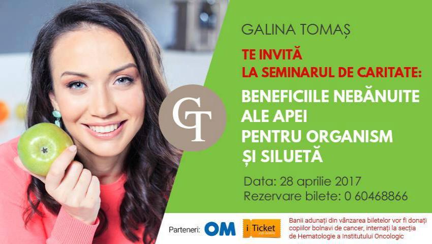 """Foto: Galina Tomaș te invită la seminarul de caritate: ,,Beneficiile nebănuite ale apei pentru organism şi siluetă""""!"""