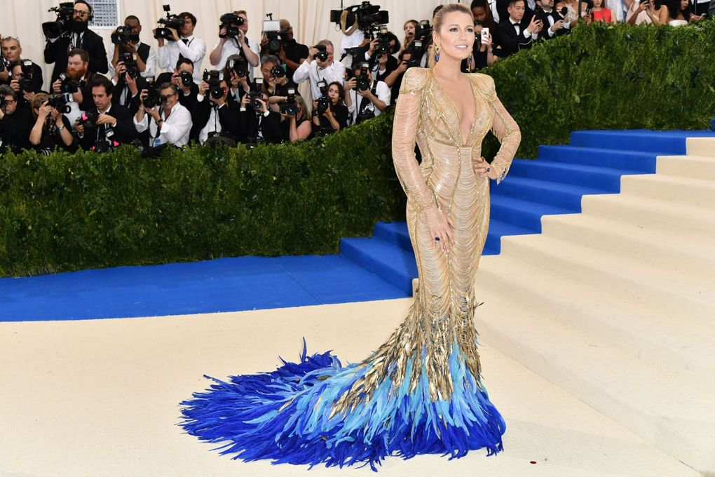Blake Lively in a feathered Versace gown