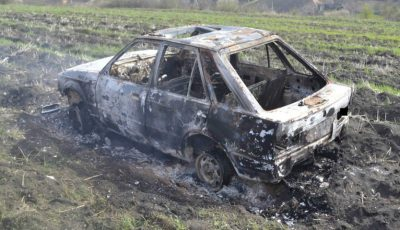 Au furat un automobil, după care l-au făcut scrum