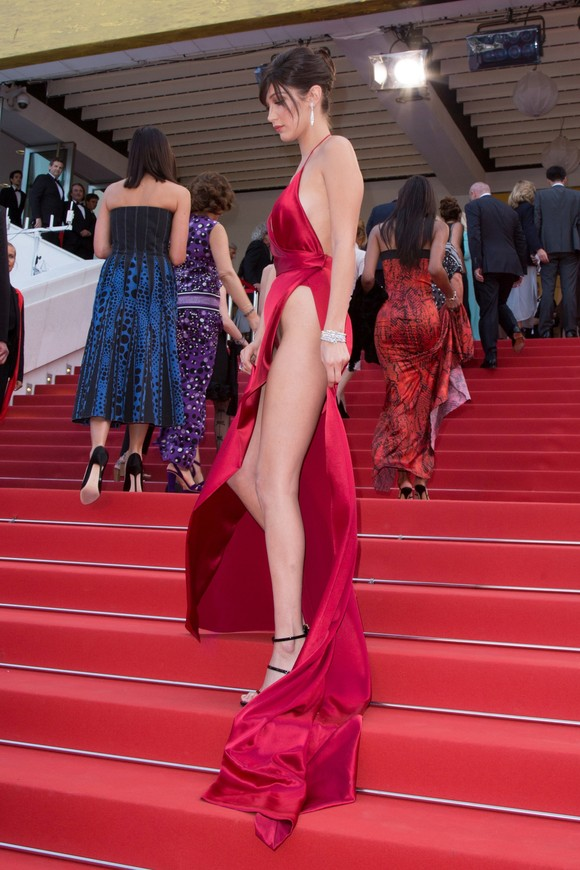 Bella Hadid attends the premiere of La Fille Inconnue, Cannes, France. Pictured: Bella Hadid Ref: SPL1285541 180516 Picture by: Headlinephoto / Splash News Splash News and Pictures Los Angeles: 310-821-2666 New York: 212-619-2666 London: 870-934-2666 photodesk@splashnews.com
