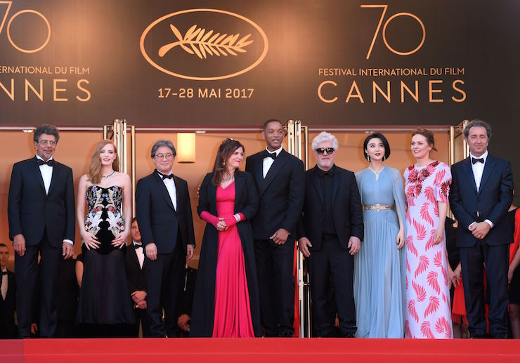 Mandatory Credit: Photo by David Fisher/REX/Shutterstock (8823018gy) Gabriel Yared, Jessica Chastain, Park Chan-Wook, Agnes Jaoui, Will Smith, Pedro Almodovar, Fan Bingbing, Maren Ade and Pablo Sorrentino 'Ismael's Ghosts' premiere and opening ceremony, 70th Cannes Film Festival, France - 17 May 2017