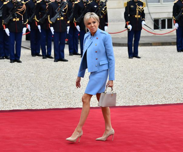 PARIS, FRANCE - MAY 14 : New French President Emmanuel Macron's Brigitte Trogneux Macron arrives at the Elysee Palace prior to the handover ceremony in Paris, France on May 014, 2017. Mustafa Yalcin / Anadolu Agency