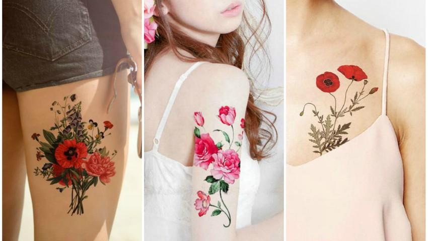 Foto: Tatuajele florale temporare pe care să le porți în această vară. Și miresele optează pentru ele