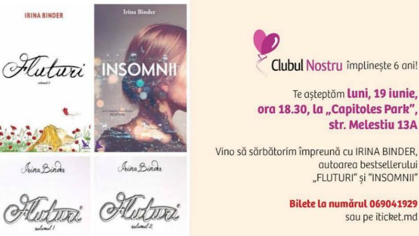"""Foto: Clubul Nostru invită femeile din Moldova la o întâlnire de suflet cu Irina Binder, autoarea romanului ,,Fluturi""""!"""