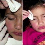 Foto: Imagini revoltătoare! O mamă îi face fiicei sale de 8 ani injecții cu botox și o epilează pe picioare