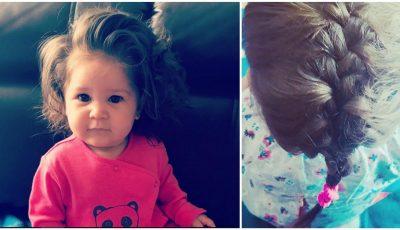 O fetiță de doar 9 luni are părul suficient de lung pentru a-l împleti. Vezi toate pozele!