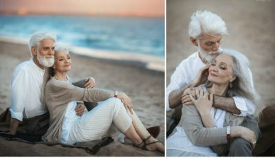 Un cuplu trecut de prima tinerețe, surprins în ipostaze tandre pe o plajă! Fotografiile au emoționat internauții
