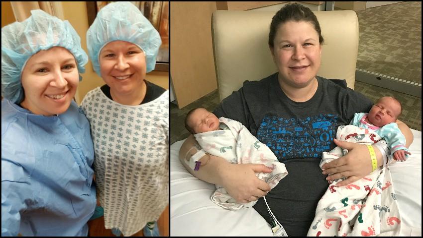 Foto: După nouă sarcini pierdute, sora ei a acceptat să devină mamă surogat și i-a născut gemeni!