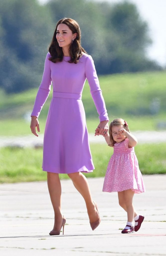Princess Charlotte with her mother the Duchess of Cambridge as they visit Airbus in Hamburg, Germany with the Duke of Cambridge and Prince Geaorge. July 21, 2017 , Duke Duchess Cambridge