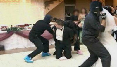 Video! Nuntă cu bucluc în Capitală. Mirele a fost luat de mascați în toiul petrecerii