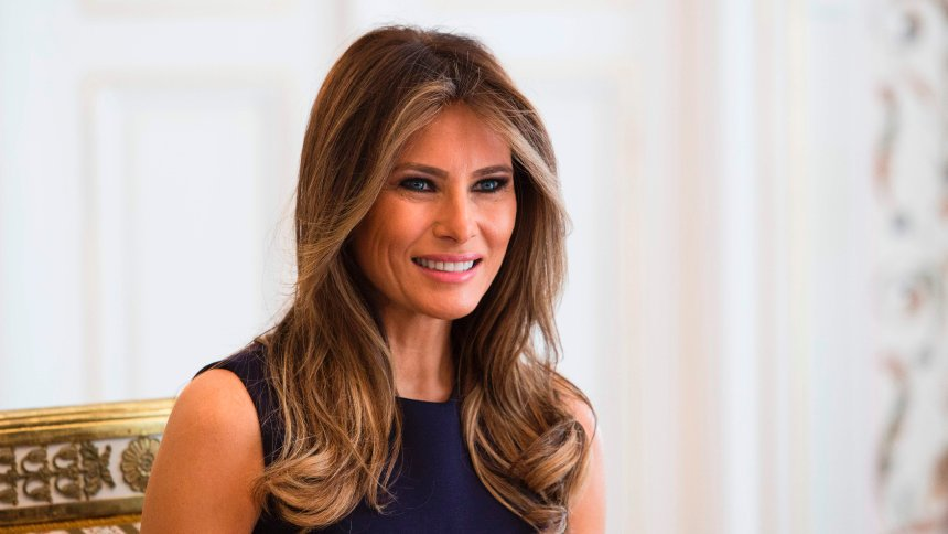 First Lady Melania Trump is pictured during a meeting with Polish President's wife Agata Kornhauser-Duda (Unseen) at the Belvedere Palace in Warsaw on July 6, 2017. US President Donald Trump is on his first visit behind the former Iron Curtain. He is expected to focus largely on defence in talks with Baltic, Balkan and central European leaders. / AFP PHOTO / ANDRZEJ HULIMKA