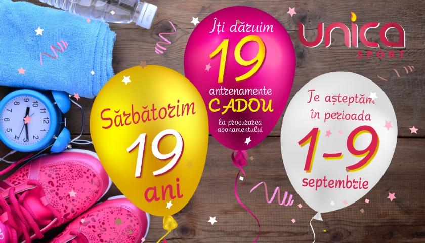 Foto: Sărbătorim 19 ani UNICA Sport! Îți dăruim 19 antrenamente CADOU!