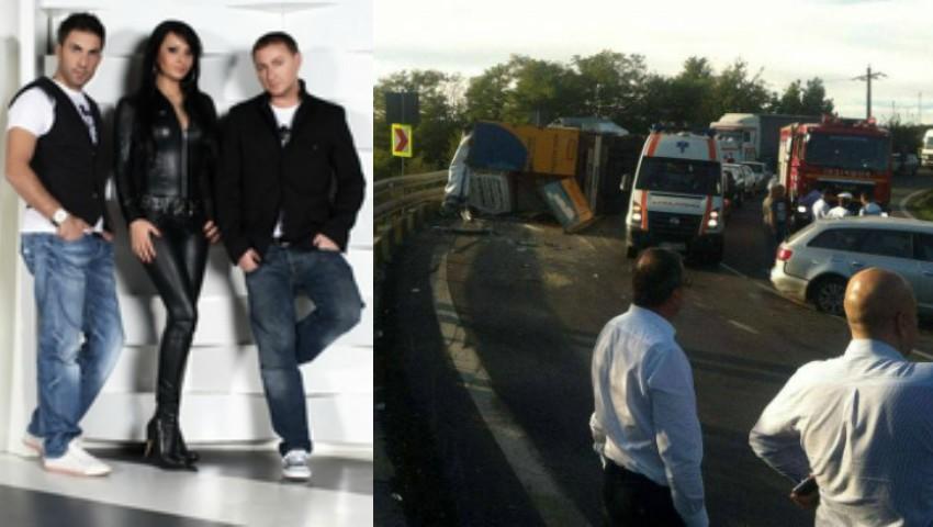 Foto: Membrii trupei DJ Project, răniţi grav după ce un TIR s-a răsturnat peste maşina lor