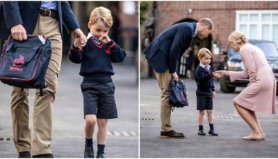 Prințul George a mers în clasa întâi. Iată cine l-a însoțit în prima zi de școală!