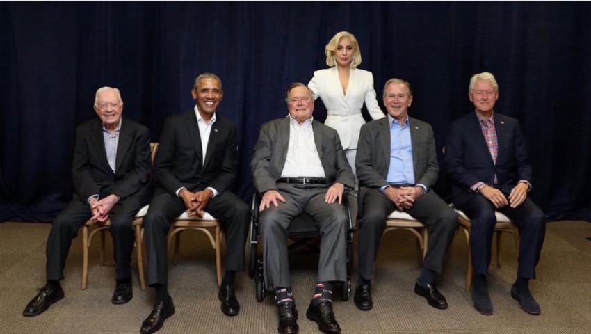 Foto: Lady Gaga a reușit să adune laolaltă cinci foști președinți americani