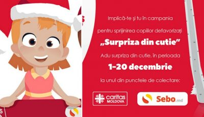 """Fii Moş Crăciun pentru cei mai nevoiaşi ca tine. A început campania de caritate """"Surpriza din cutie"""""""
