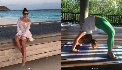Jasmin cu copiii în vacanță, pe o insulă exotică! Fiica interpretei este talentată la gimnastică