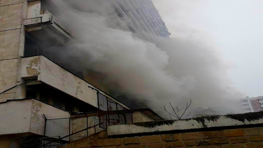 Foto: Incendiu în Capitală. Hotelul Național a luat foc