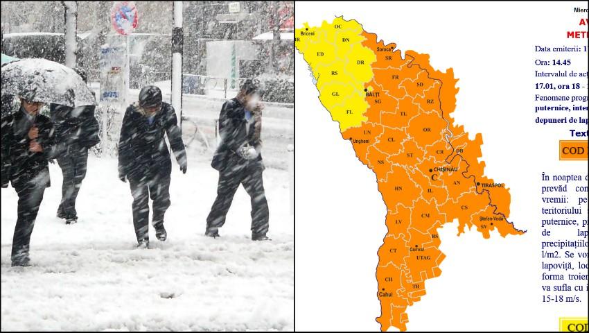 Meteorologii au emis cod portocaliu de lapoviță și vânt puternic în toată țara