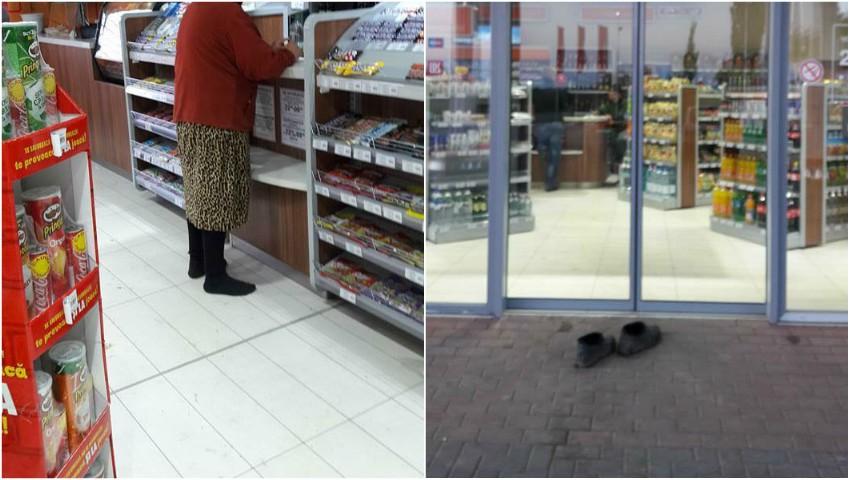 Foto: O bătrânică din Cahul s-a descălțat la intrare într-un magazin