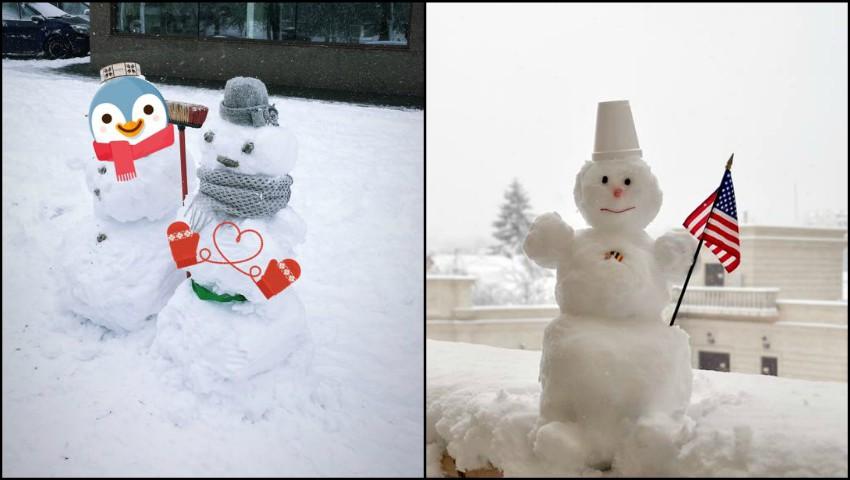 Foto. Cei mai amuzanți oameni de zăpadă de pe străzile Capitalei