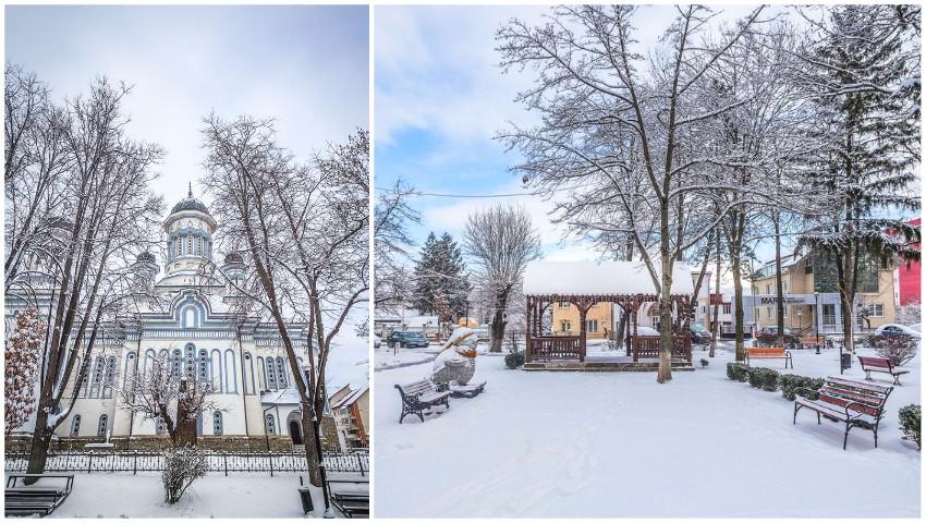 Foto: Zăpada a transformat într-o poveste un orășel de peste Prut. Imagini spectaculoase