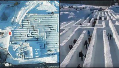 În Polonia se găsește cel mai mare labirint de zăpadă din lume! Video