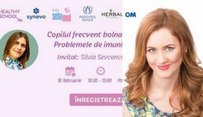 "Maria Marian te invită la seminarul ,,Copil frecvent bolnav. Problemele de imunitate la copii""!"
