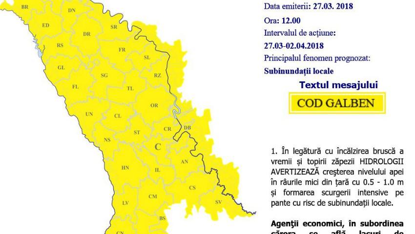 Foto: Avertizare: Cod galben de inundații în Moldova