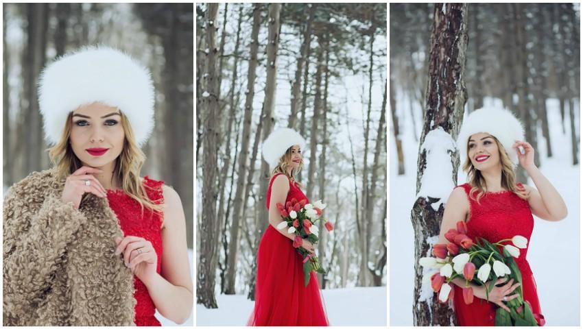 Cornelia Ștefăneț, gingașă și superbă în mijlocul zăpezii de primăvară!