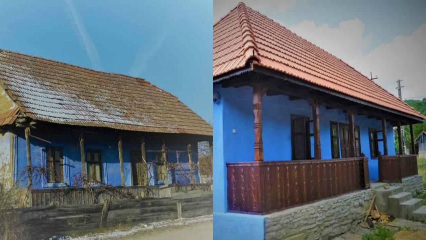 Foto: Un bărbat stabilit în străinătate, a transformat locuința bunicilor într-o casă de vacanță