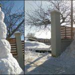Foto: În mijlocul primăverii, în Moldova a fost înălțat cel mai mare om de zăpadă!