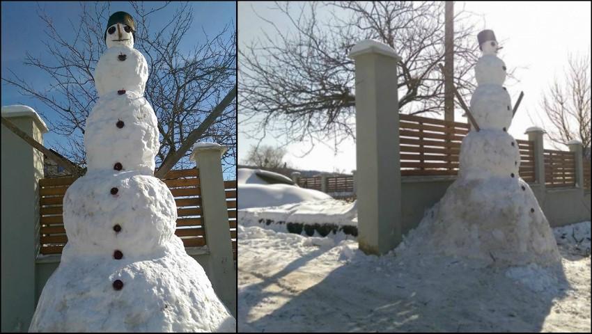 În mijlocul primăverii, în Moldova a fost înălțat cel mai mare om de zăpadă!