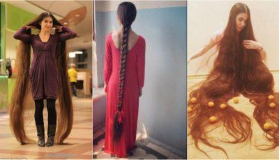 Uimitor! Lungimea părului acestei tinere măsoară peste 2 metri
