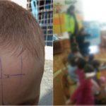 Foto: O educatoare a scris cu pixul pe fruntea unui copil