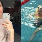 Foto: Prezentatoarea TV Stela Mikșanski nu renunță la înot nici în a noua lună de sarcină