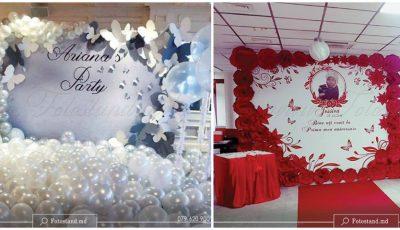 Fotopanou cu baloane – decor pentru cumetrie, nuntă, botez, zi de naștere și aniversare