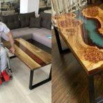 Foto: Un tânăr în scaun cu rotile confecționează mese din lemn și sticlă, ca să adune banii necesari pentru operație. Lucrările sale sunt uimitoare!