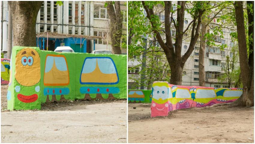 Foto: Mamele și copiii lor au desenat trenulețe vesele pe pereții de beton din curtea blocului