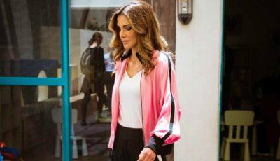 Regina Rania a purtat pantaloni de trening și tocuri