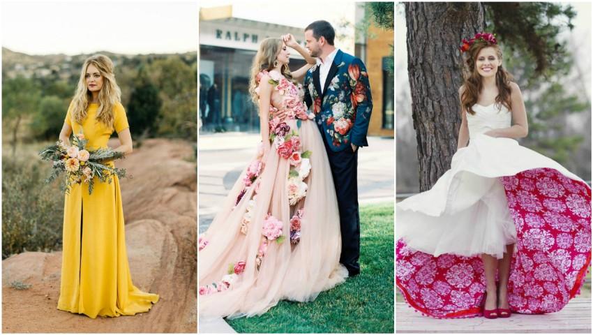 Foto: Rochii de mireasă care nu sunt albe. Ți-ai dori așa ceva la nunta ta?