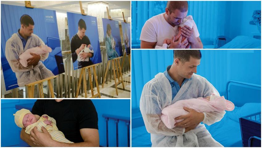 Foto: Emoționant! O expoziție inedită cu tați și copiii lor în primele zile de viață, a fost inaugurată la Chișinău