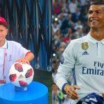Foto: Un băiețel de 11 ani din Moldova l-a condus pe Cristiano Ronaldo pe terenul de fotbal, în meciul cu Uruguay