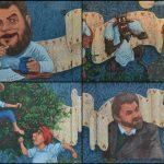 Foto: Foto. Un pictor moldovean a pictat pe un gard imens poveștile lui Ion Creangă
