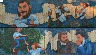Foto. Un pictor moldovean a pictat pe un gard imens poveștile lui Ion Creangă