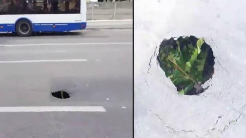 Foto: Atenție șoferi! Se prăbușește asfaltul pe strada Izmail