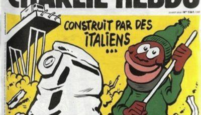 Charlie Hebdo a publicat o caricatură scandaloasă după prăbușirea podului din Genova