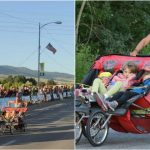 Foto: O mamă a alergat cu cei trei copii ai săi și a depășit un record mondial