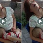 Foto: Video șocant! O moldoveancă beată criță abia își ține copilul mic în brațe